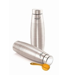 Sizzle Ring Fridge 600Ml + 1 Free Scoop Grey Stainless Steel Bottle - Set Of 2