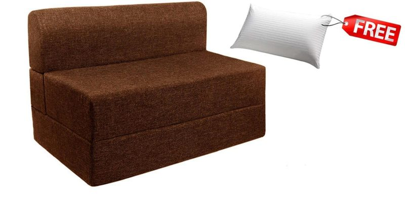 Single Sofa Cum Bed in Brown Colour (FREE Pillow) by Springtek Ortho Coir