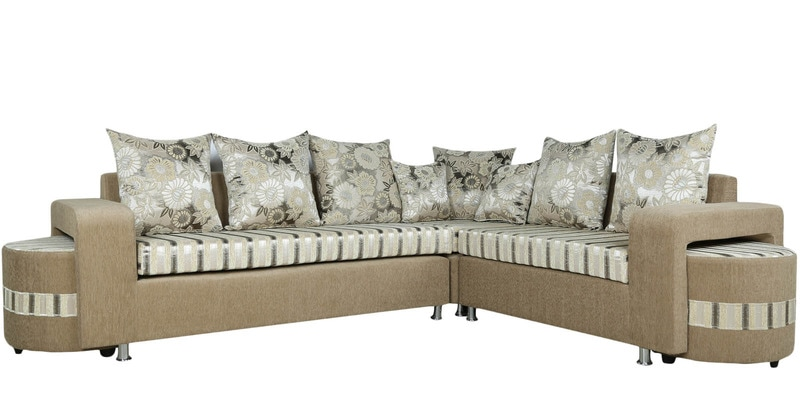 Buy corona six seater corner sofa set with two pouffe in white colour by parin online sofa - Lshaped sofa for small spaces model ...