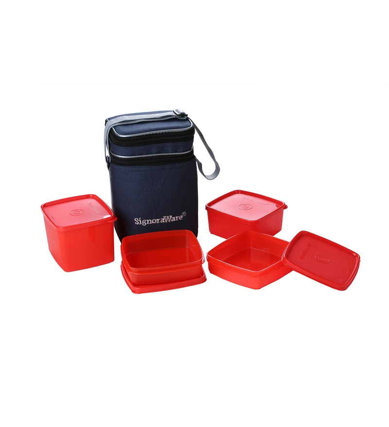Signoraware Red Plastic Director Special Lunch with Bag - Set of 4