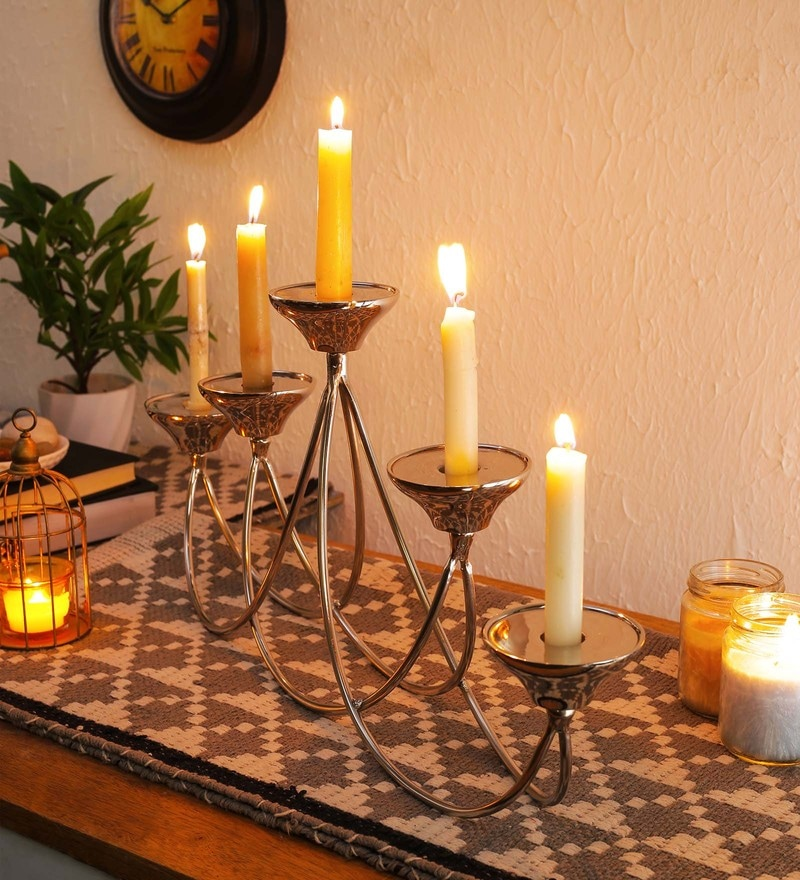 Silver Aluminium 21.5 x 3 x 9.5 Inch Victorian Metal Candelabra & Tea Light Holder by SWHF