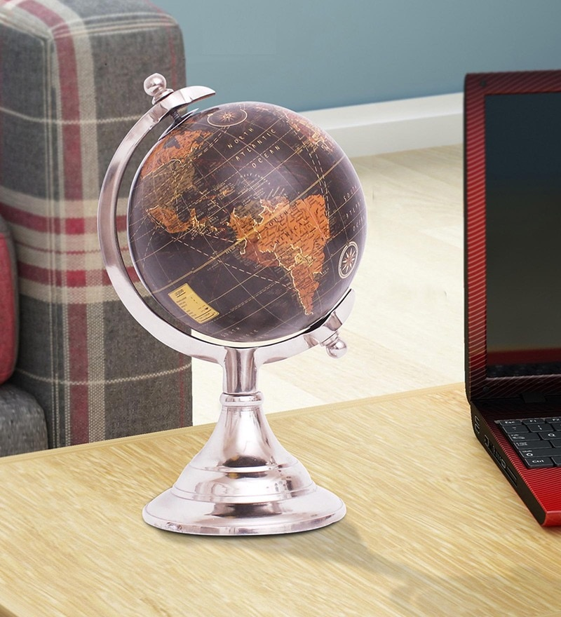 Silver Aluminium Metal World Globe By Home Sparkle