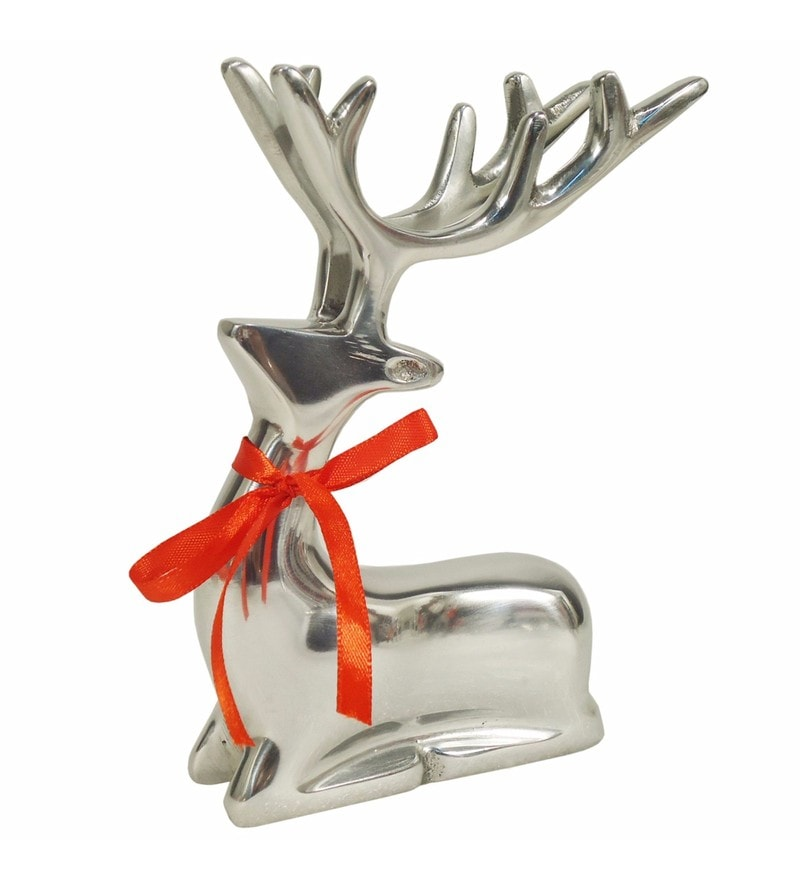 Silver Aluminium Sitting Reindeer Showpiece by Golmaalshop