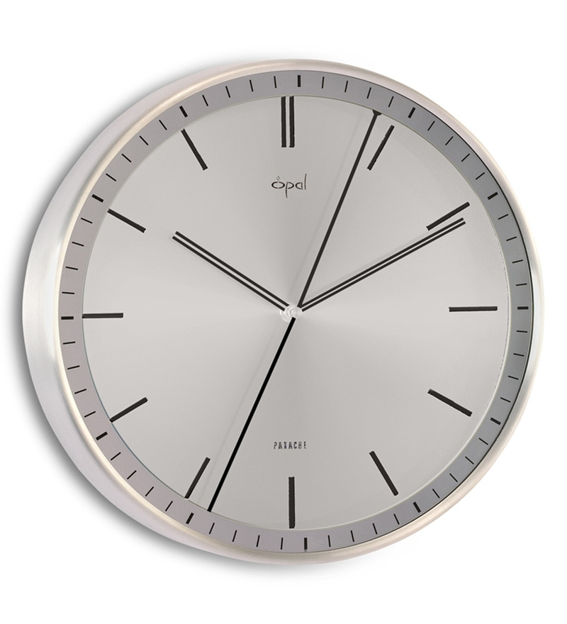 Silver Metal 11.8 x 1.8 x 11.8 Inch Smooth Noiseless Movement Wall Clock by Opal