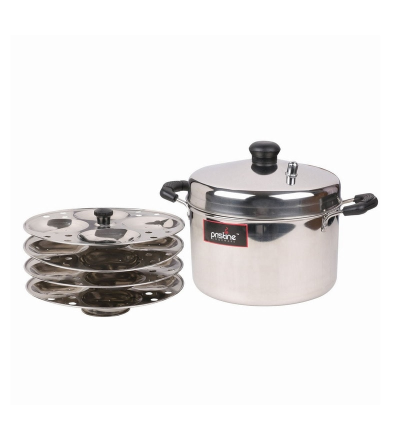 Silver Stainless Steel 4 Plate Induction Compatible Idli Cooker By Pristine