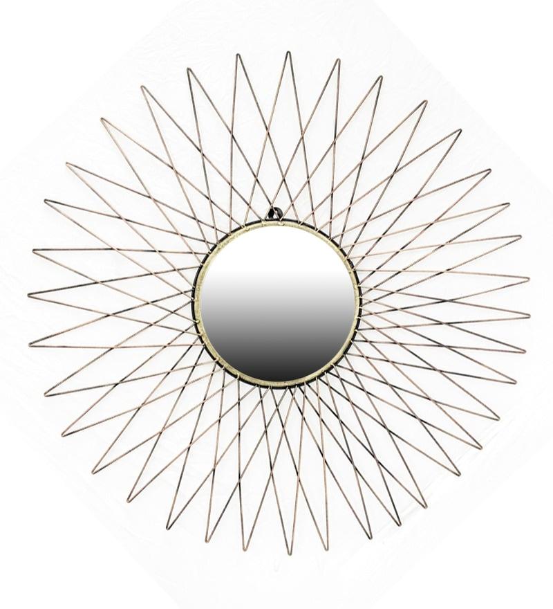 Silver W-Modern Rays Iron Mirror by Vedas