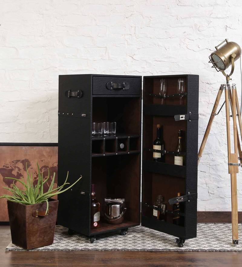 Leather Trunk Bar Cabinet in Black Colour by Studio Ochre