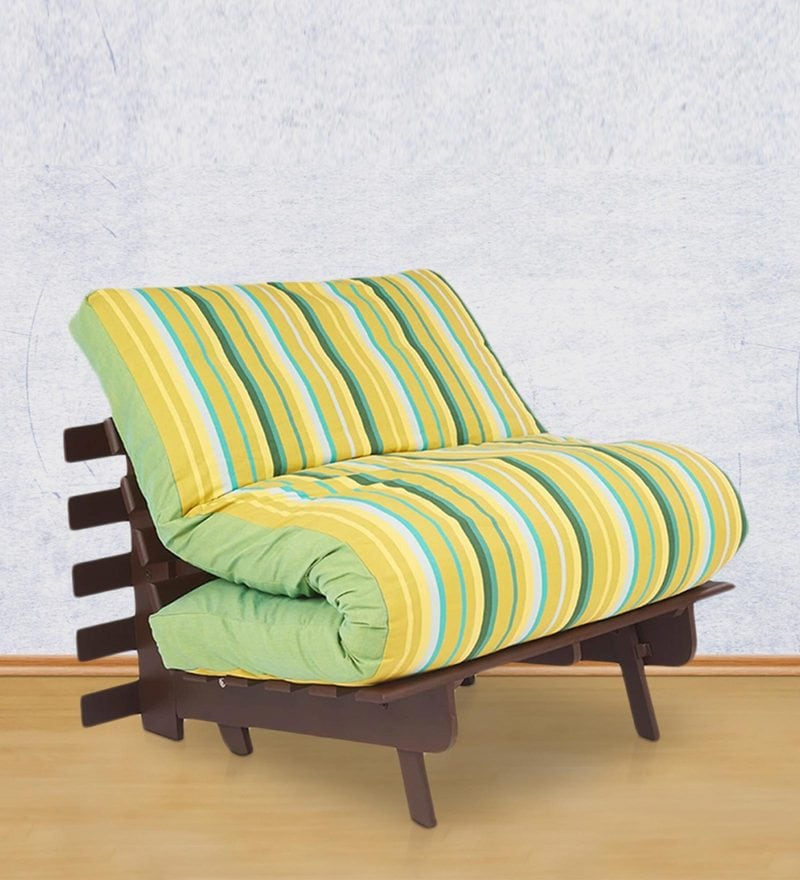 Single Futon Sofa cum Bed with Mattress in Green Lines Colour by ARRA