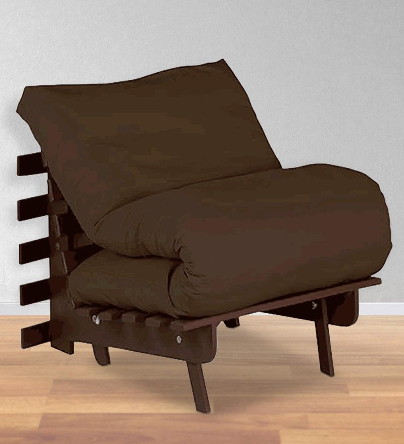 Single Futon with Mattress in Chocolate Colour by Auspicious Home