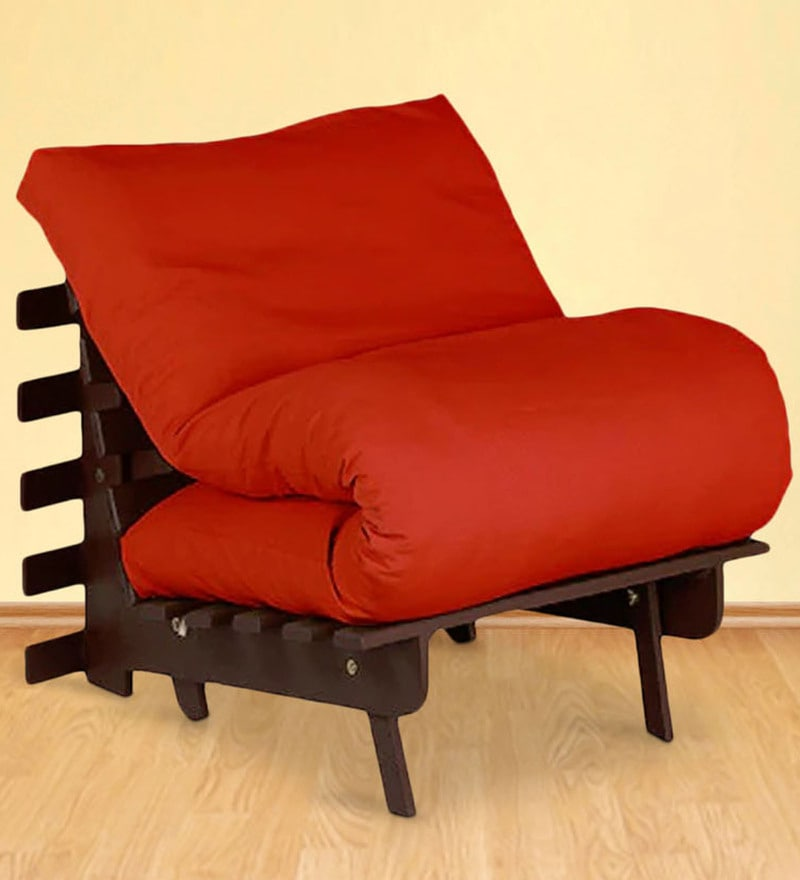 Single Futon with Mattress in Orange Colour by Auspicious Home