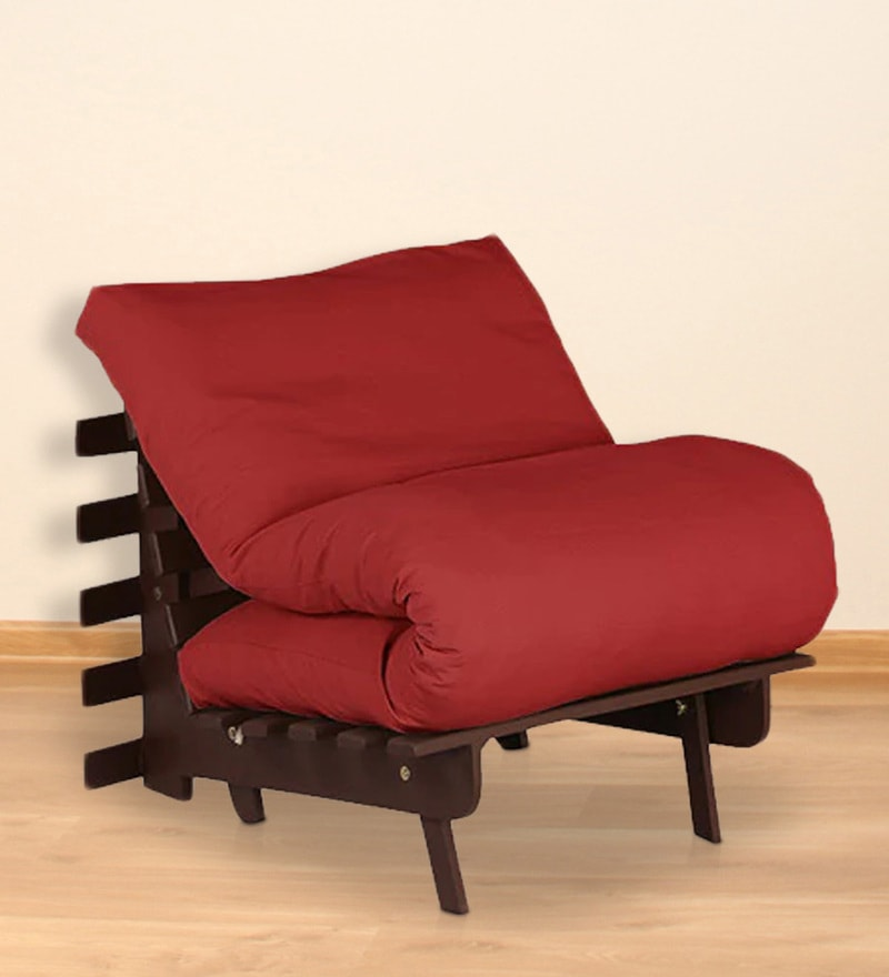 Single Futon with Mattress in Red Colour by Auspicious Home