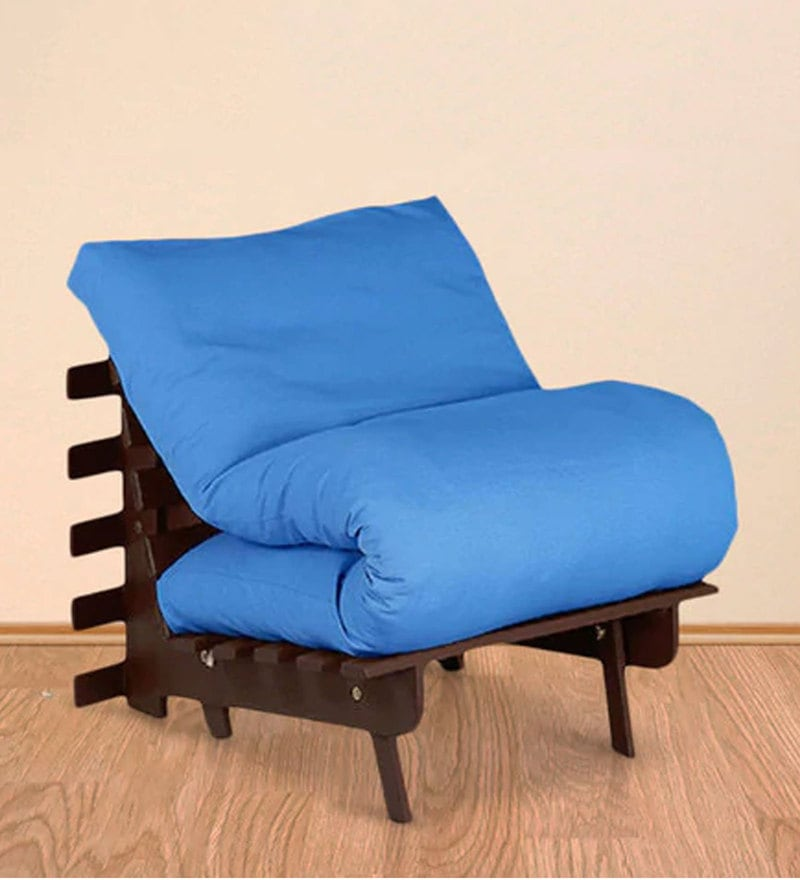 Single Futon with Mattress in Sky Blue Colour by Auspicious Home