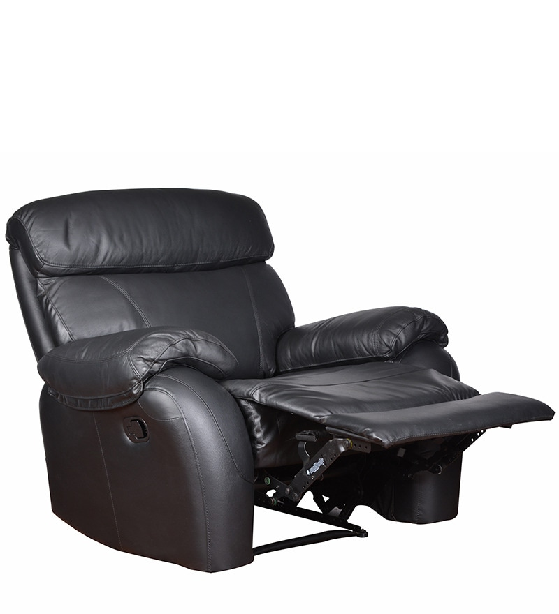 Pure Leather Sofa Sets: Buy 1 Seater Recliner In Black Colour By Star India Online