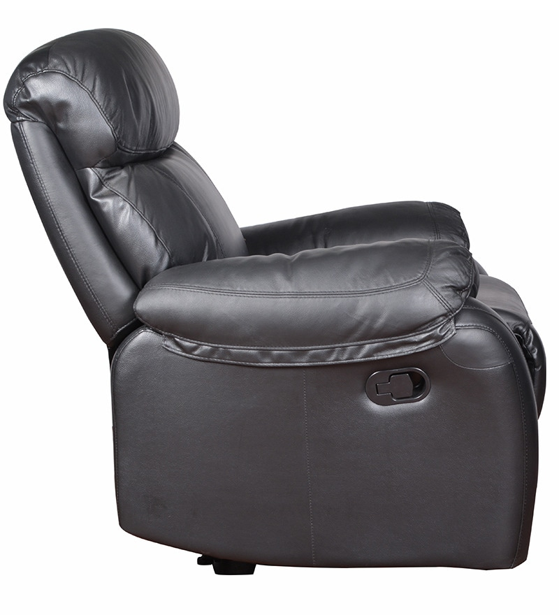 Pure Leather Sofa Sets: Buy Single Seater Half Leather Manual Recliner Rocker Sofa