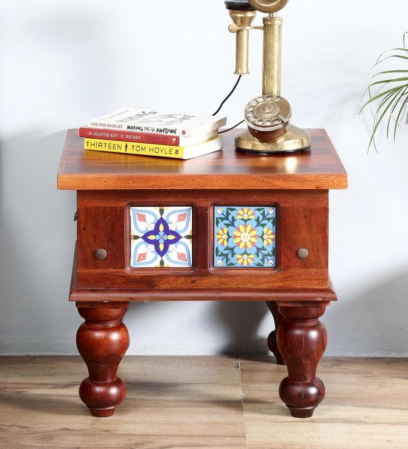 Siramika Bed Side Table in Honey Oak Finish by Mudramark