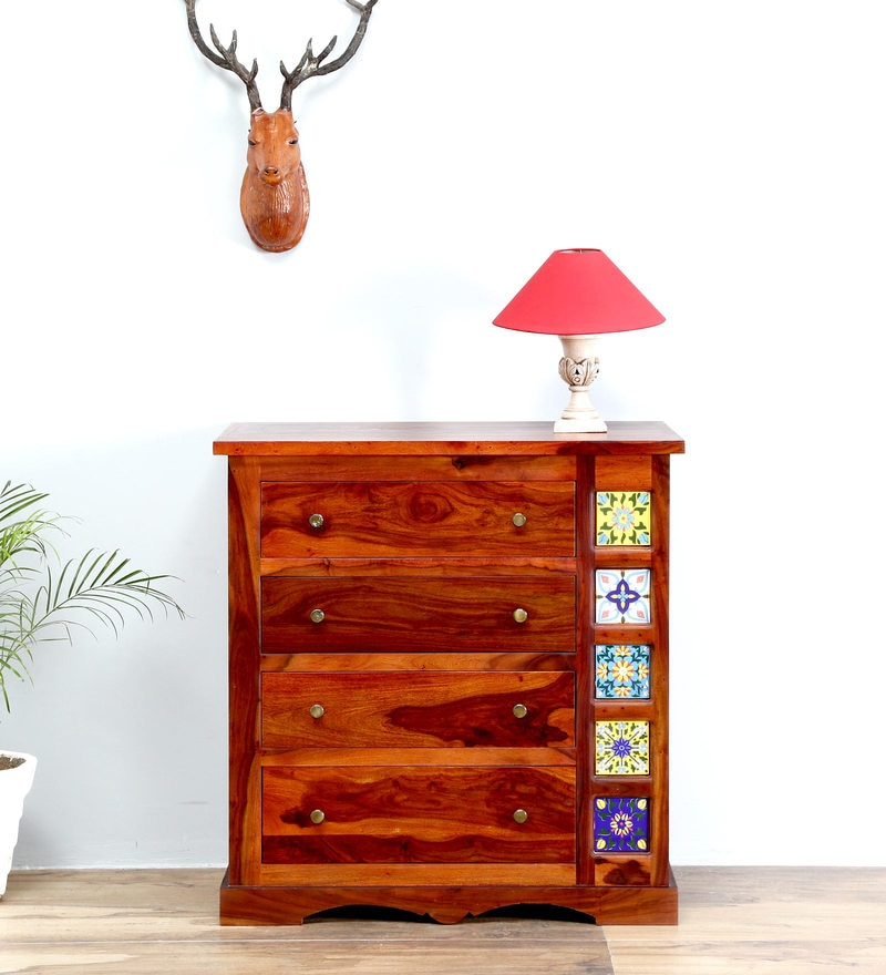 Siramika Chest of Drawers in Honey Oak Finish by Mudramark