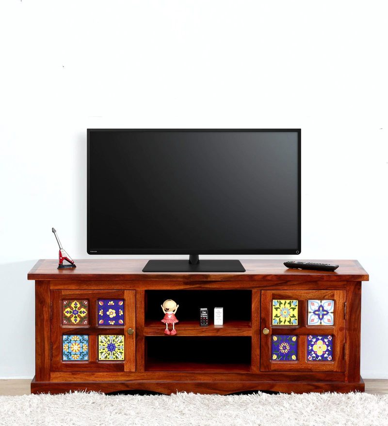 Siramika Entertainment Unit in Honey Oak Finish by Mudramark