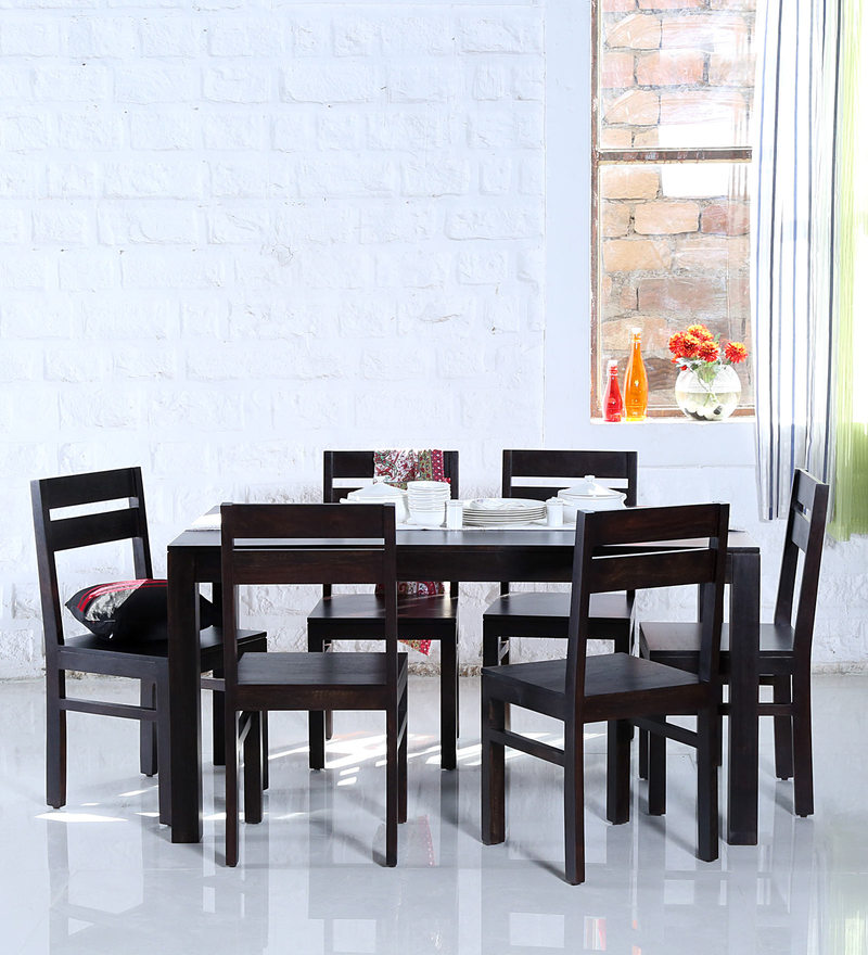 Enkel Six Seater Dining Set in Warm Chestnut Finish by Woodsworth