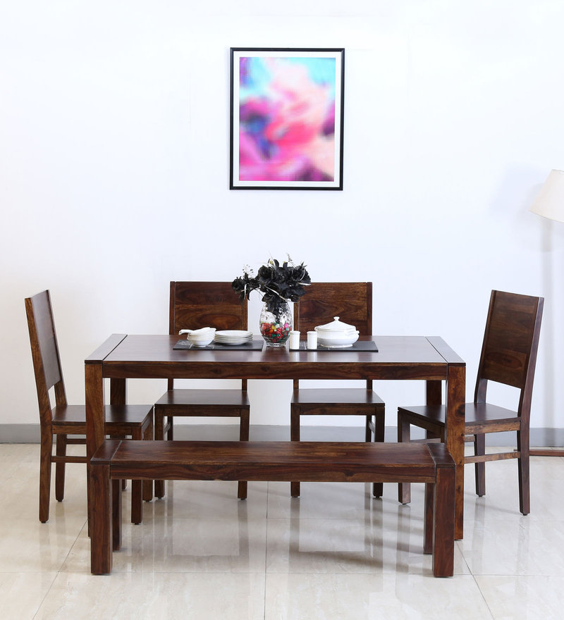 Oriel Six Seater Dining Set with Bench in Provincial Teak Finish by Woodsworth