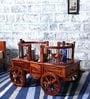 Siramika Bar Trolley in Honey Oak finish by Mudramark