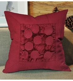 Skipper Maroon Polyester 16 X 16 Inch Fluffy Surface Play Cushion Cover - 1594754