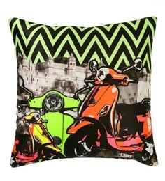 Skipper Multicolour Polyester 16 X 16 Inch Scooter Digital Printed Cushion Cover