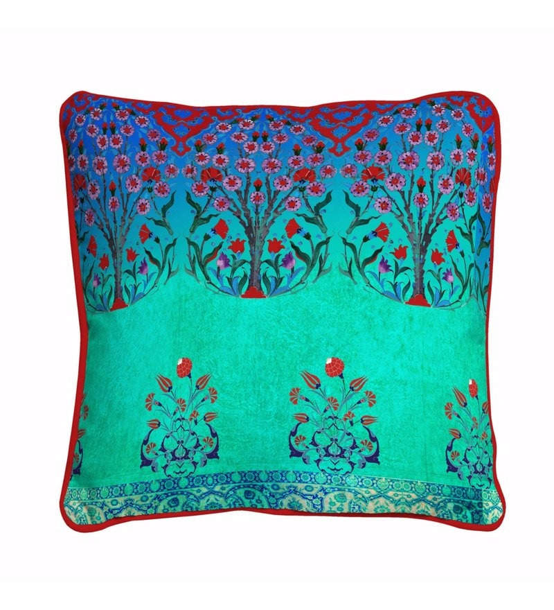 Blue & Red Polyester 16 x 16 Inch Turkey Abstract Pattern Cushion Cover by Skipper