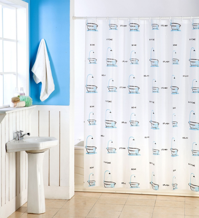 Blue & White PVC 70 x 70 Shower Curtain by Skipper