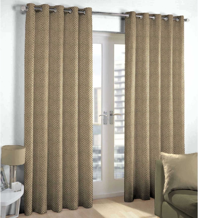 Brown Polyester Abstract Pattern Window Curtain - Set of 2 by Skipper