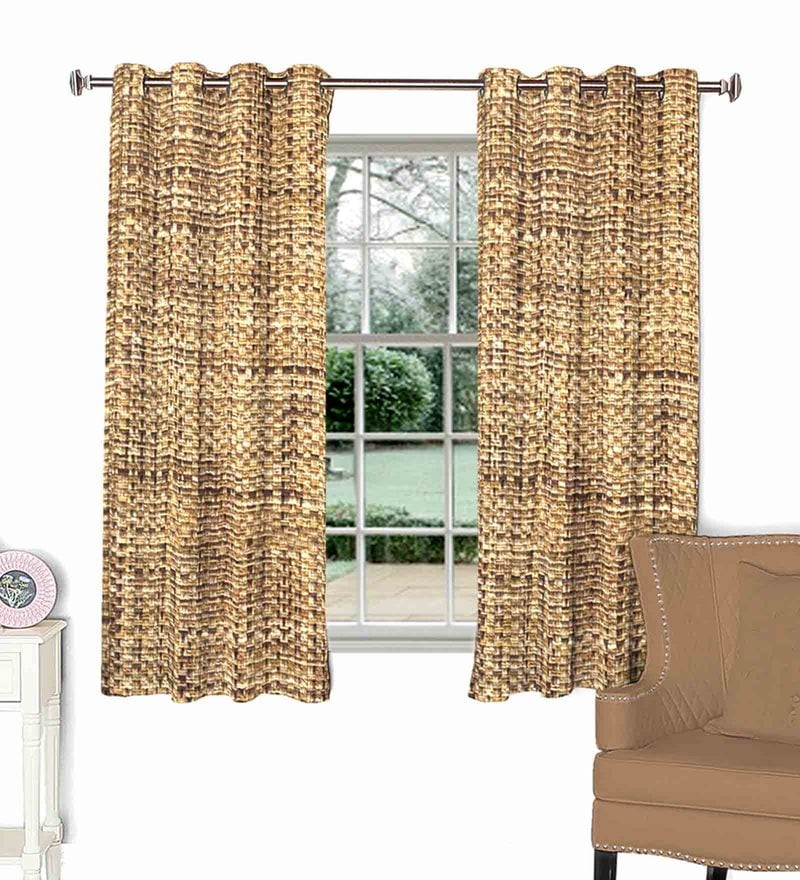 Brown Polyviscose 44 x 60 Inch Checkered Window Curtain by Skipper