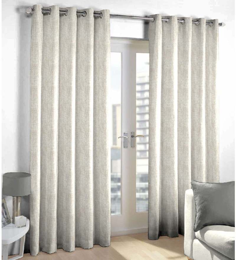 Grey Polyester & Cotton Abstract Pattern Window Curtain - Set of 2 by Skipper