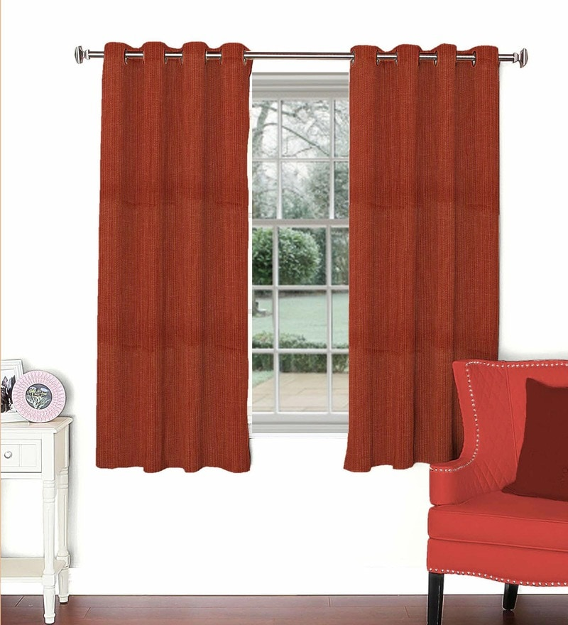 Maroon Viscose & Polyester 44 x 60 Inch Eyelet Window Curtain (Model No: 093105) by Skipper