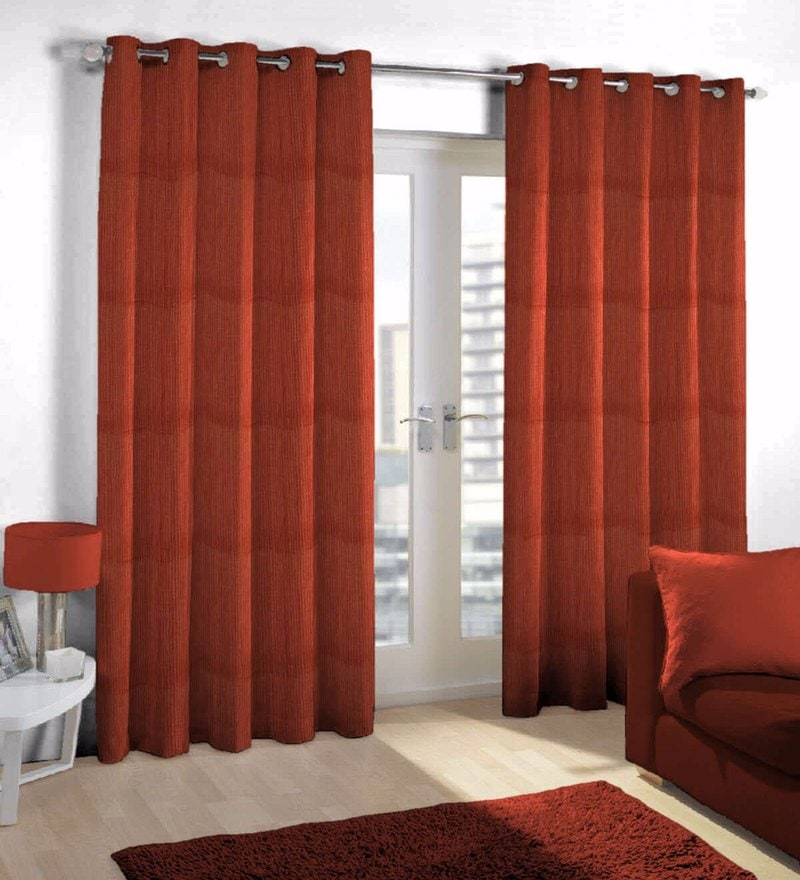 Maroon Viscose & Polyester Eyelet Door Curtain by Skipper