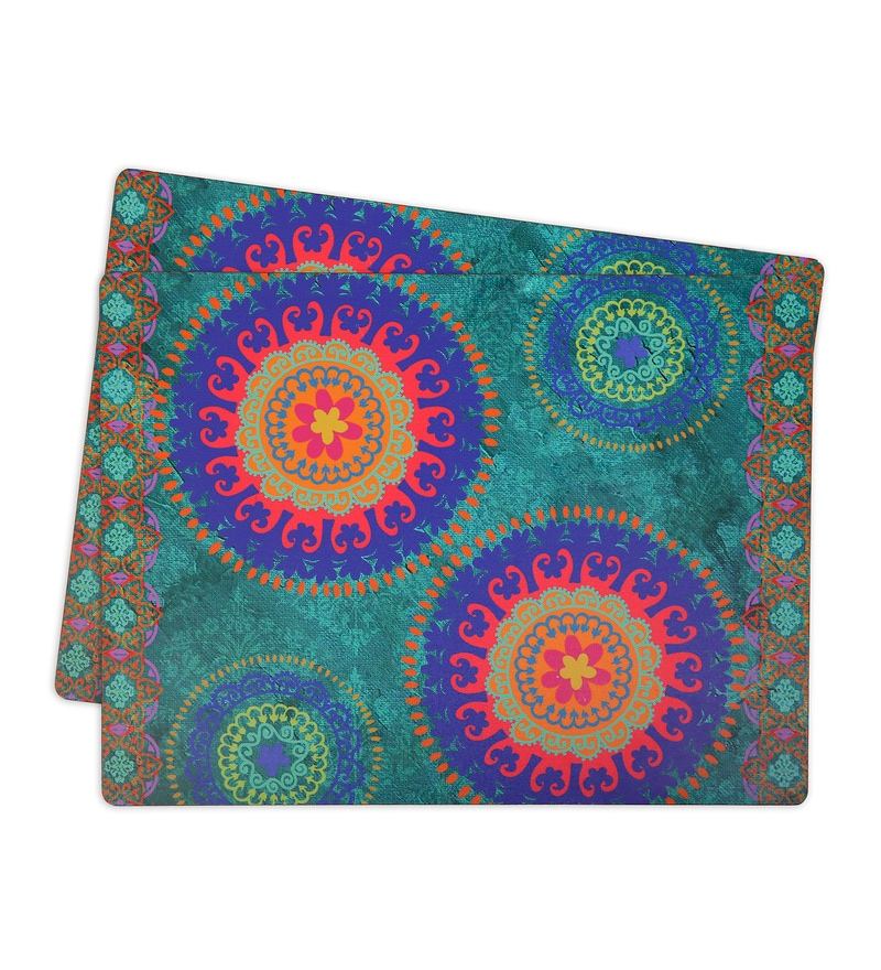 Skipper Multicolor Fiber Indian Ethnic 16 x 12 Inch Table Mat Set