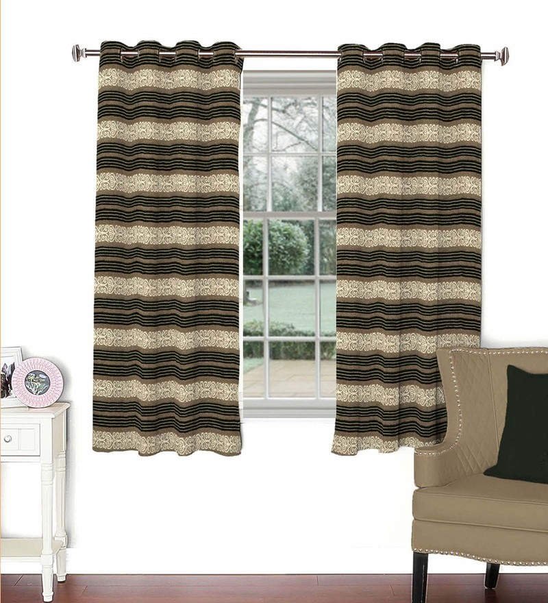 Skipper Multicolour Viscose & Polyester 44 x 60 Inch Eyelet Window Curtain (Model No: 090441)