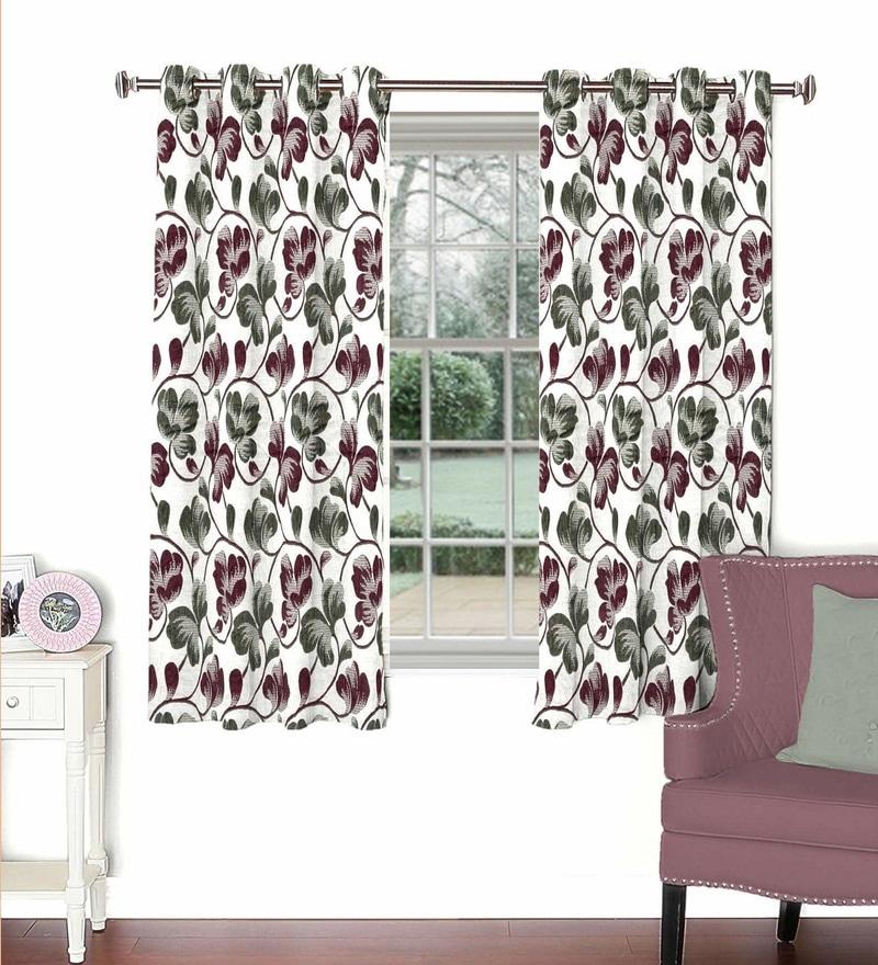 Skipper Multicolour Viscose & Polyester 44 x 60 Inch Eyelet Window Curtain (Model No: 092767)