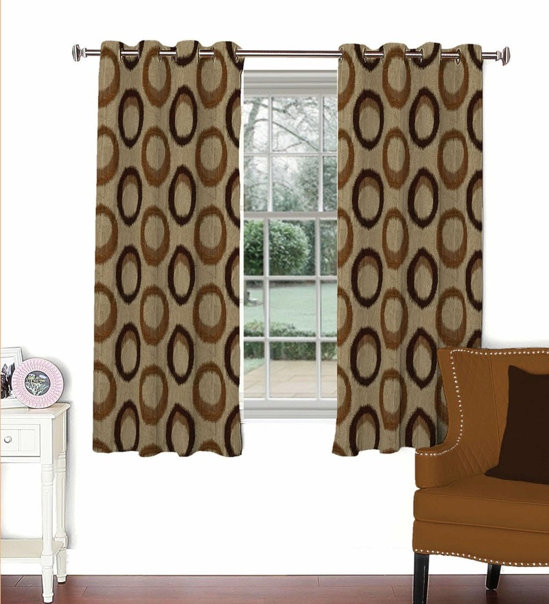 Multicolour Viscose & Polyester 44 x 60 Inch Eyelet Window Curtain (Model No: 092774) by Skipper