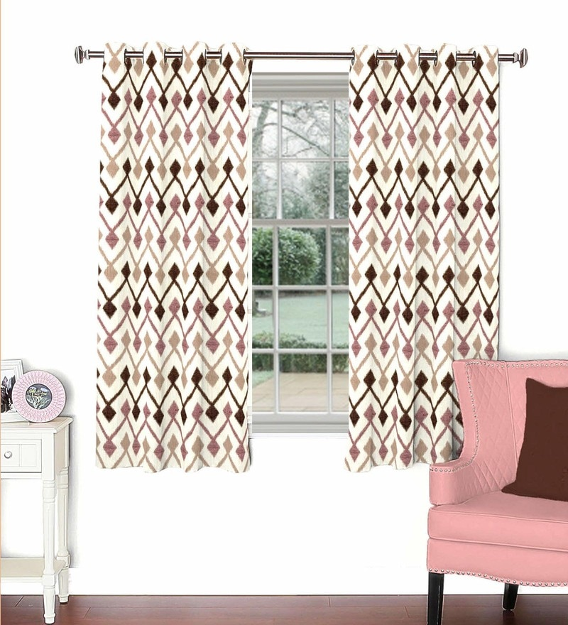 Multicolour Viscose & Polyester 44 x 60 Inch Eyelet Window Curtain (Model No: 092786) by Skipper