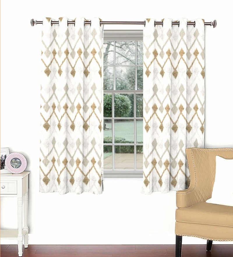 Multicolour Viscose & Polyester 44 x 60 Inch Eyelet Window Curtain (Model No: 092789) by Skipper