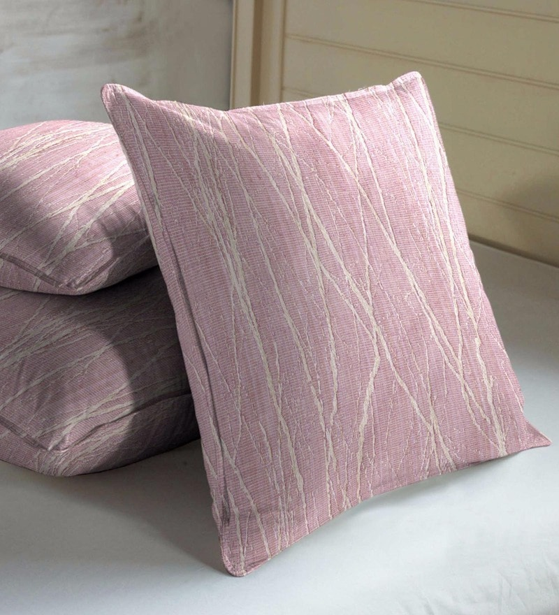 Skipper Pink Viscose & Polyester 16 x 16 Inch Cushion Covers - Set of 3