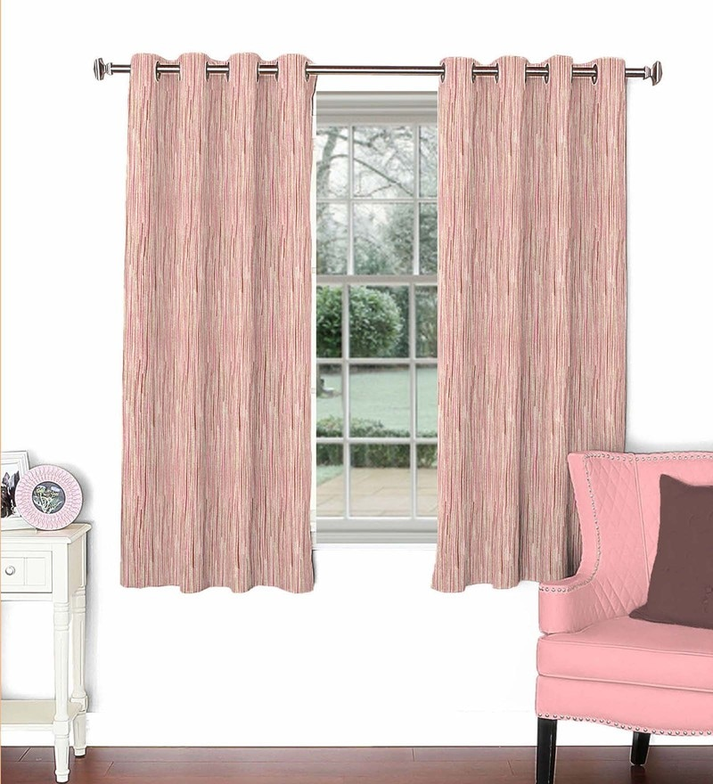 Pink Viscose & Polyester 44 x 60 Inch Eyelet Window Curtain (Model No: 089615) by Skipper