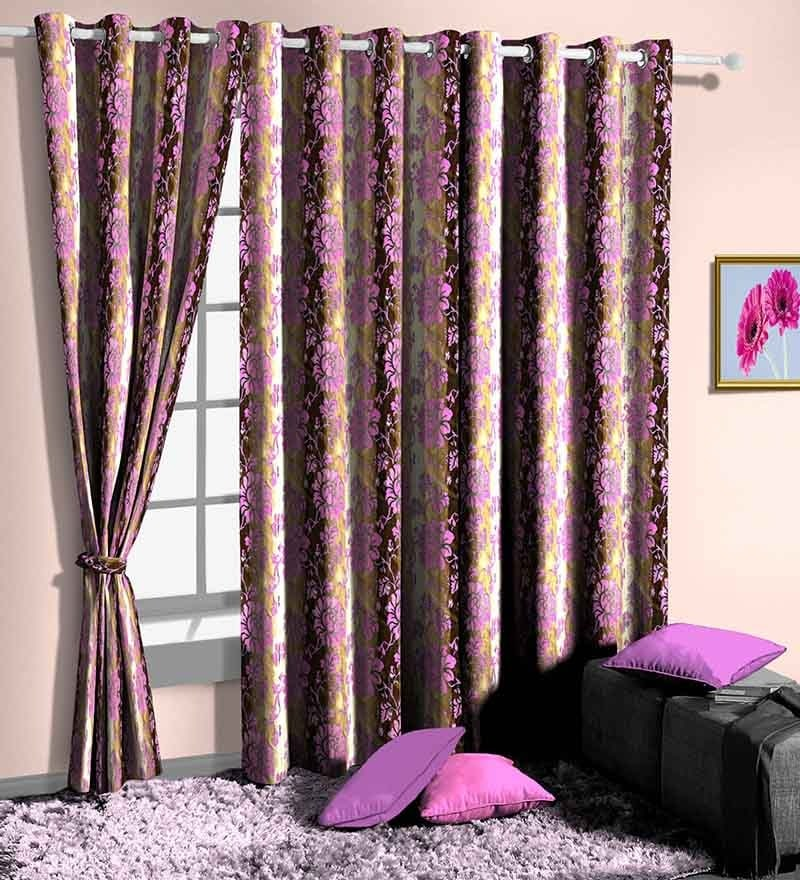 Purple Poly Cotton Floral Window Curtain - Set of 2 by Skipper