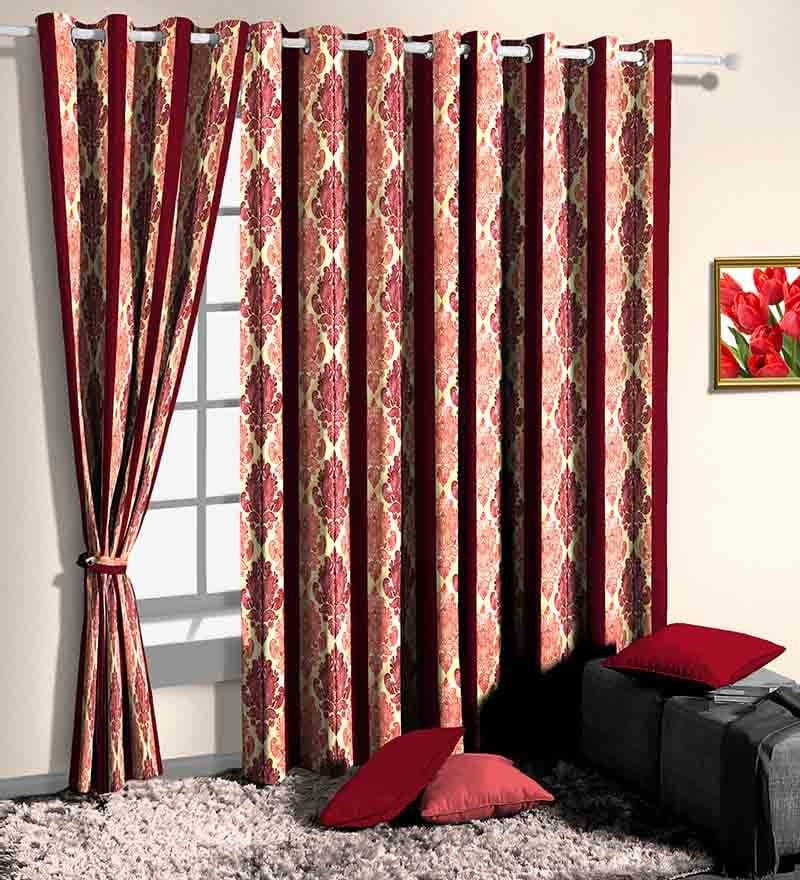Red Poly Cotton Ethnic Window Curtain - Set of 2 by Skipper