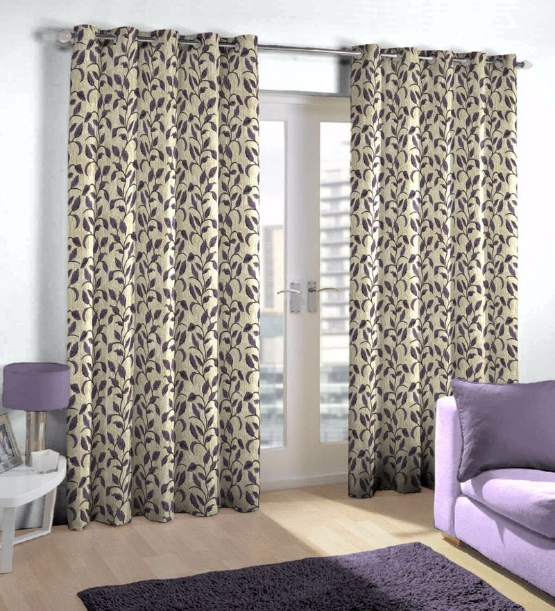 Purple Viscose & Polyester Eyelet Door Curtain by Skipper