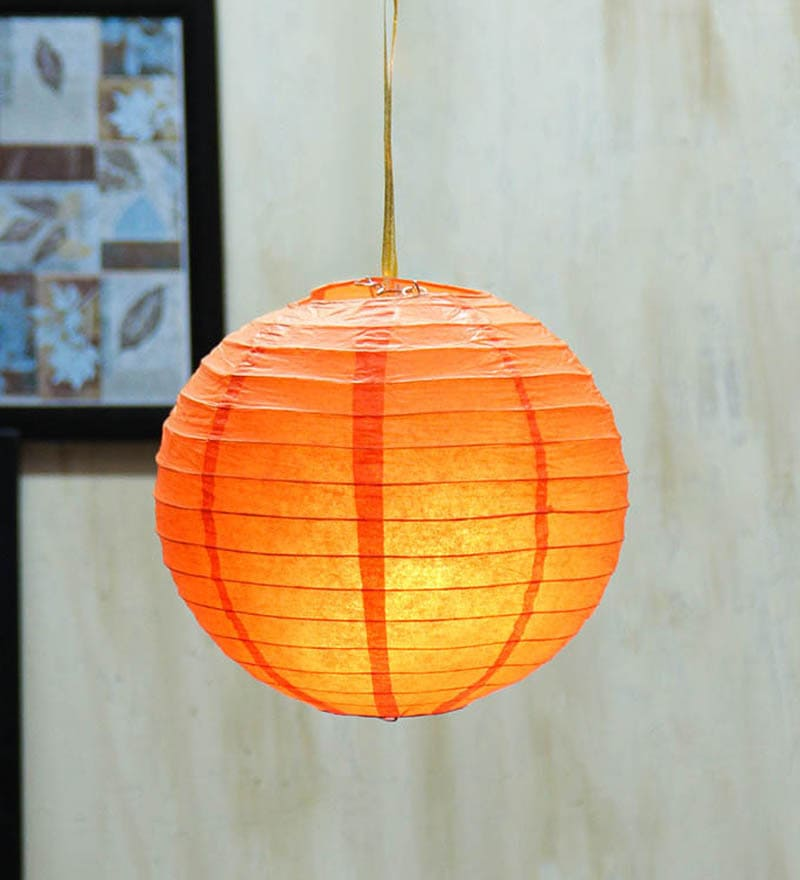 Orange Paper Paper Diwali Lantern by Skycandle