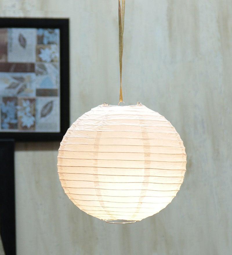 Round White Paper Diwali Lantern by Skycandle