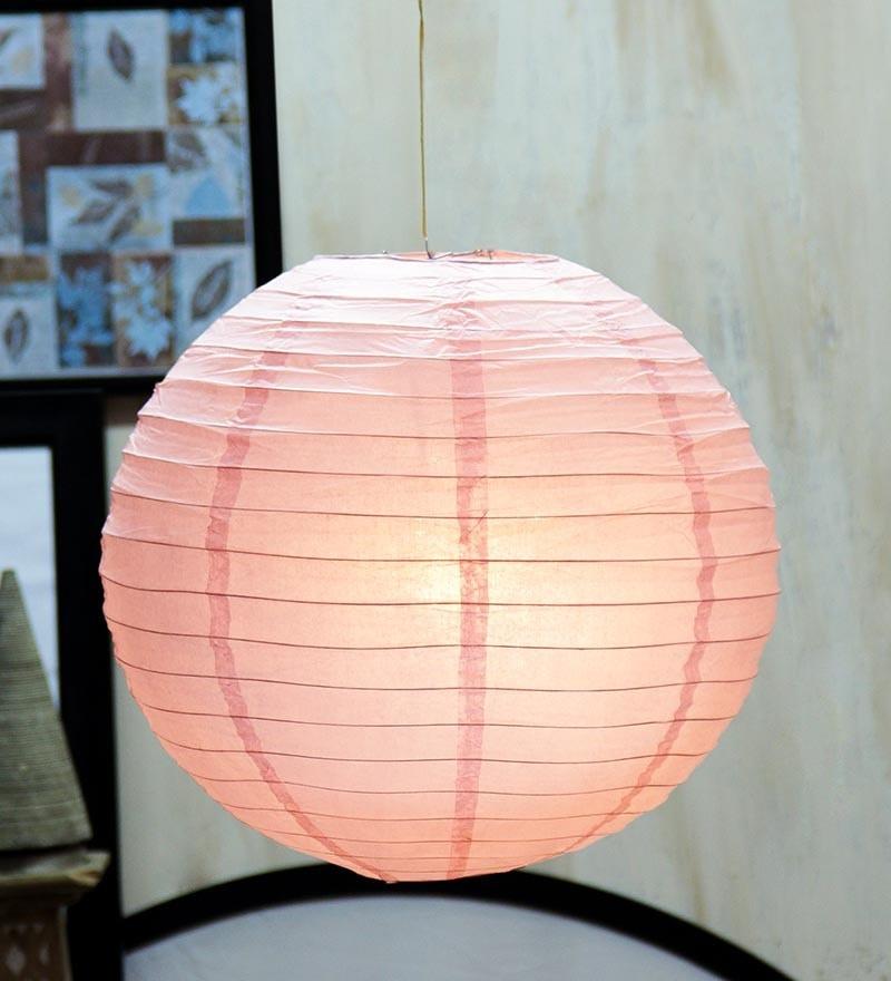 Round Pink Paper Diwali Lantern by Skycandle