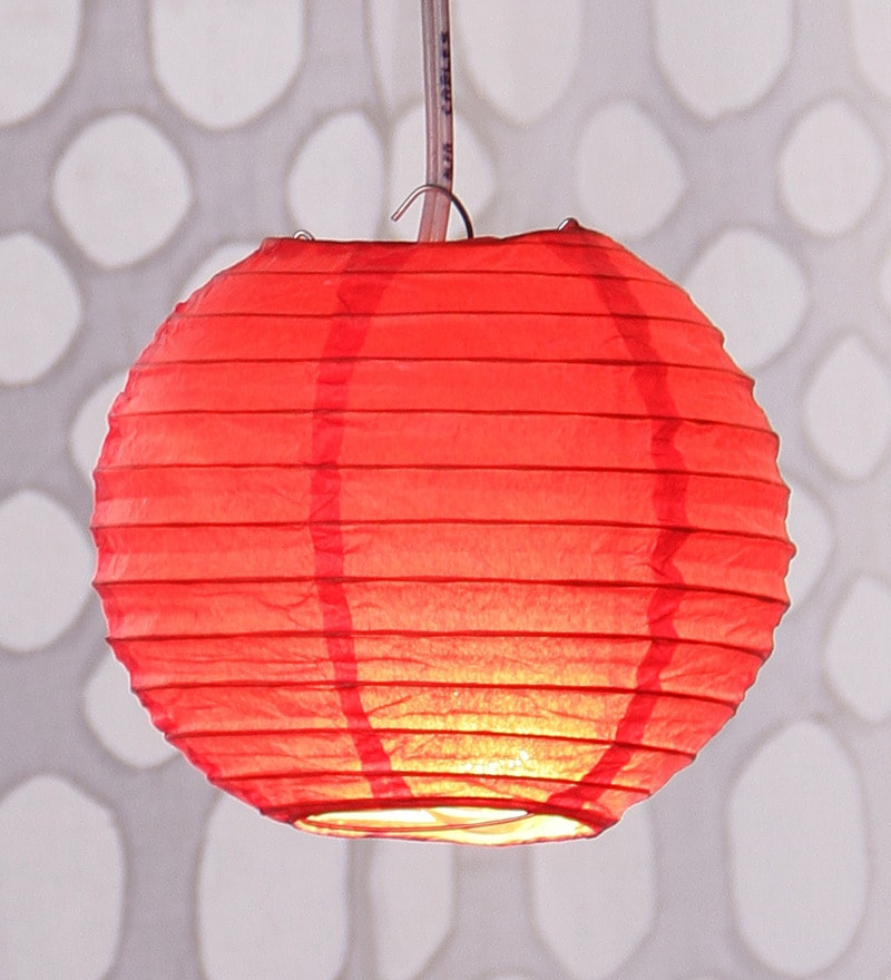 Red Round Paper Lantern by Skycandle