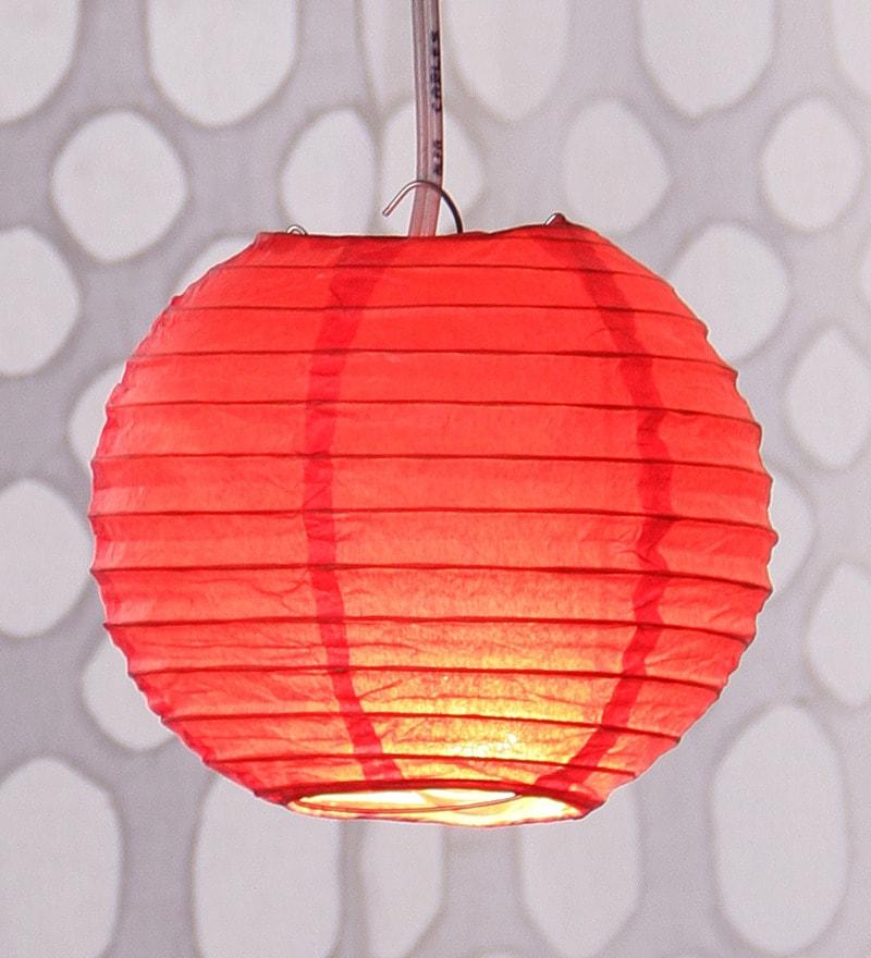Red Round Paper Diwali Lantern by Skycandle