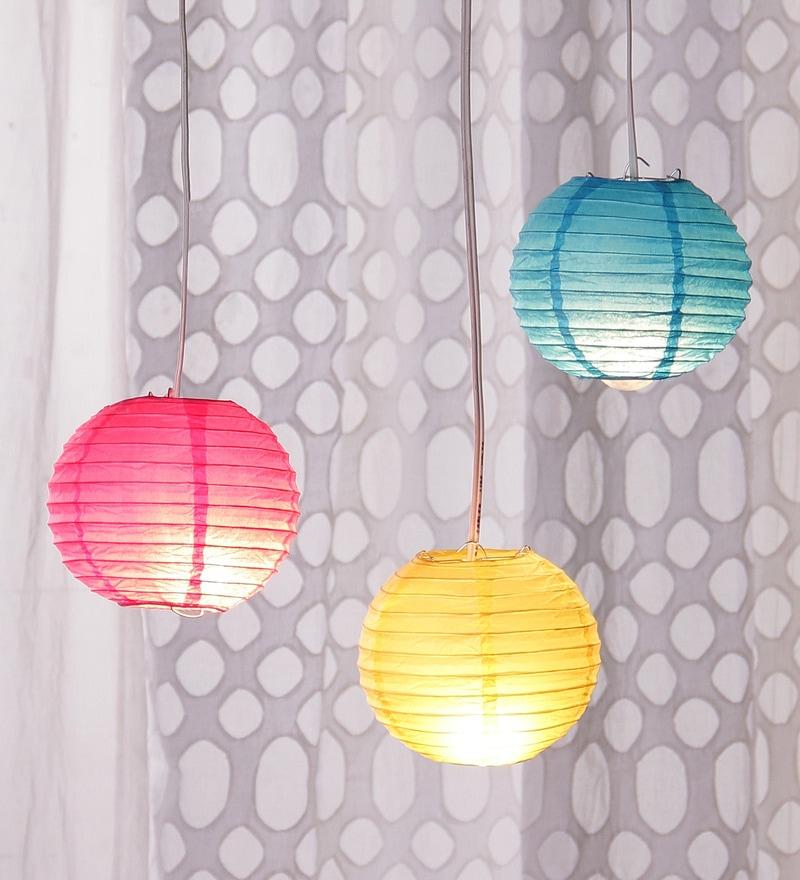 Pink, Blue, & Yellow Paper Diwali Lantern - Set of 3 by Skycandle